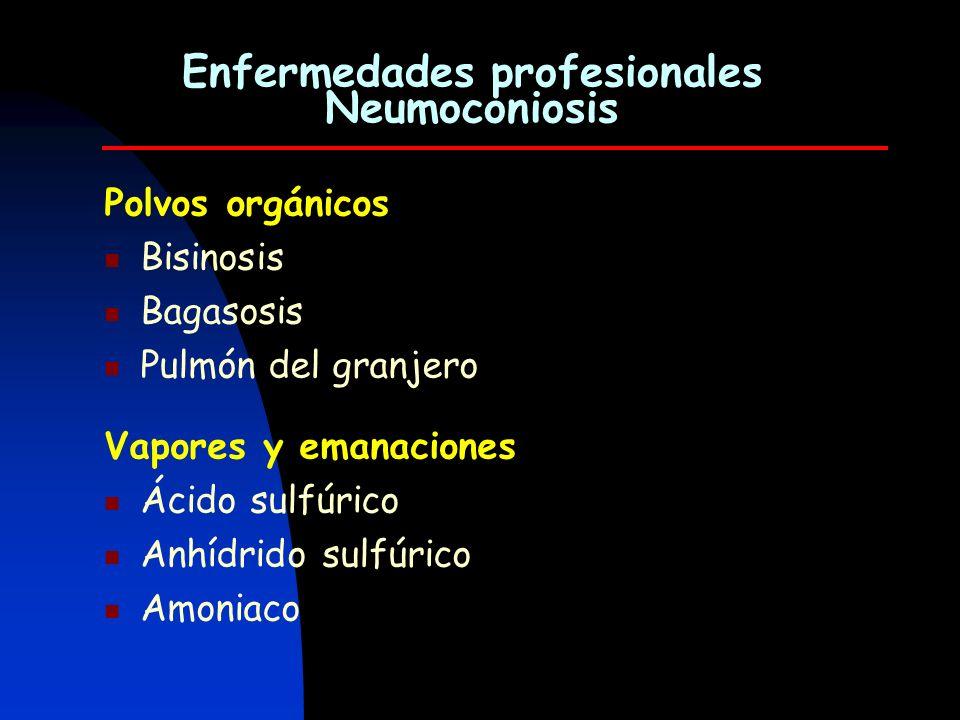Polvos orgánicos Bisinosis Bagasosis Pulmón del granjero Enfermedades profesionales Neumoconiosis Vapores y emanaciones Ácido sulfúrico Anhídrido sulf