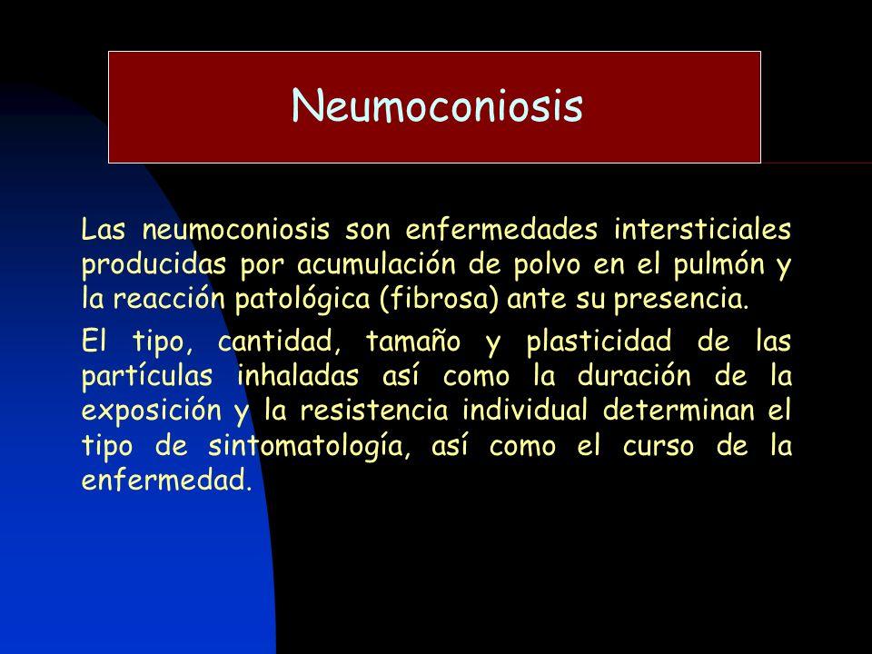 Neumoconiosis Las neumoconiosis son enfermedades intersticiales producidas por acumulación de polvo en el pulmón y la reacción patológica (fibrosa) an