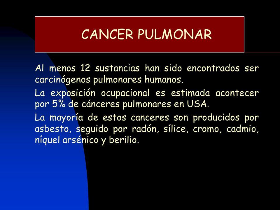 CANCER PULMONAR Al menos 12 sustancias han sido encontrados ser carcinógenos pulmonares humanos. La exposición ocupacional es estimada acontecer por 5