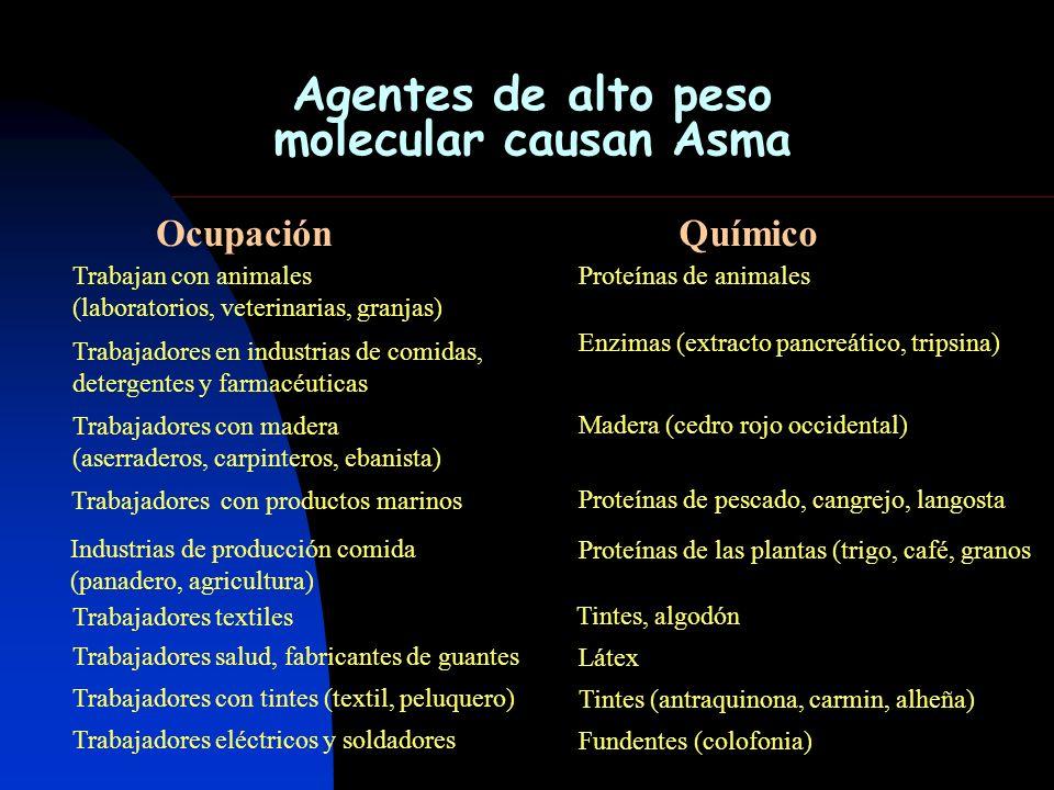 Agentes de alto peso molecular causan Asma Trabajan con animales (laboratorios, veterinarias, granjas) Proteínas de animales Trabajadores en industria