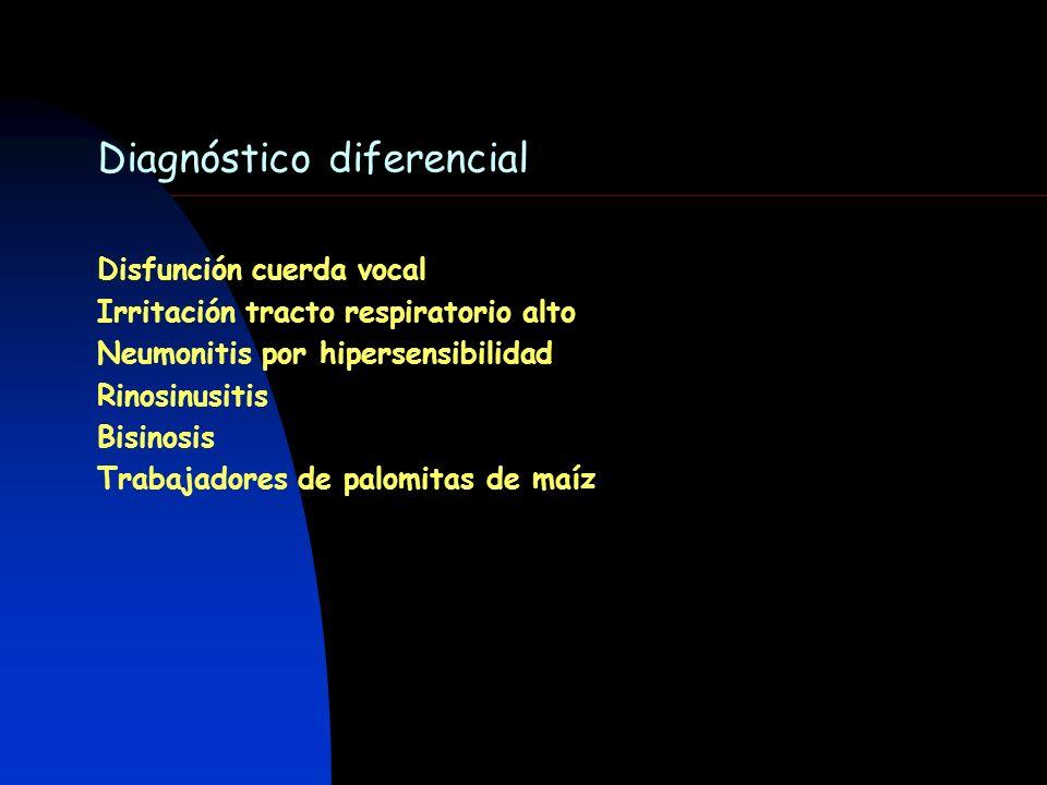 Diagnóstico diferencial Disfunción cuerda vocal Irritación tracto respiratorio alto Neumonitis por hipersensibilidad Rinosinusitis Bisinosis Trabajado