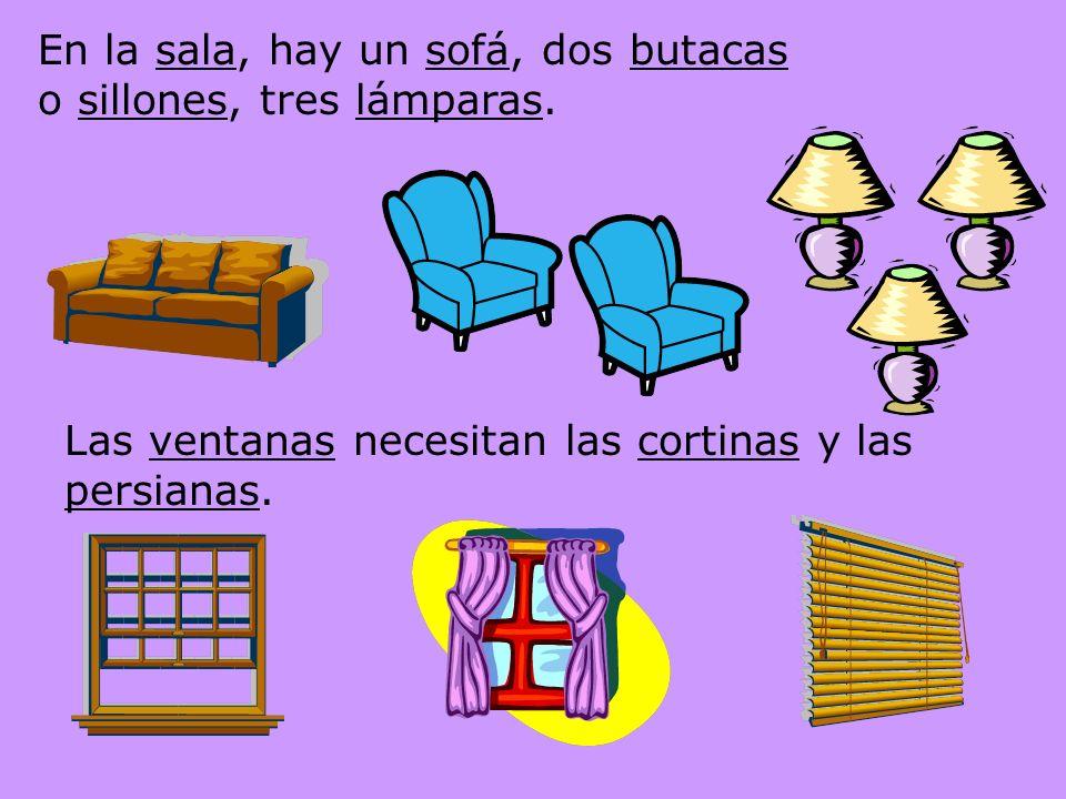 Living room: La sala El estante La radio El sofá La silla El sillón o la butaca Una palabra que termina con –on –ona es grande o es un insulto La lámpara La luz