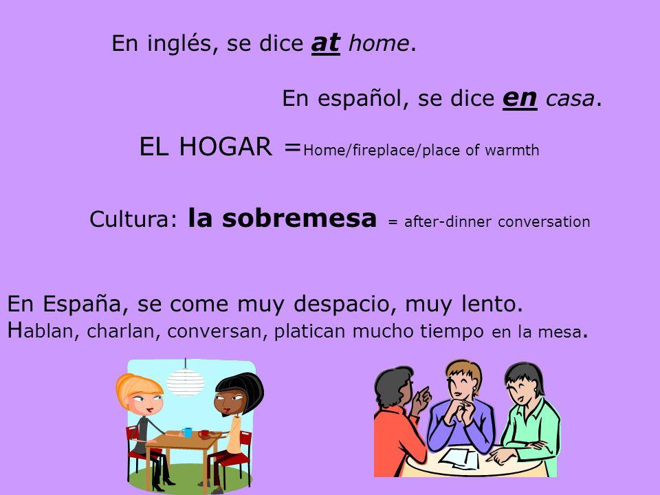En inglés, se dice at home.En español, se dice en casa.