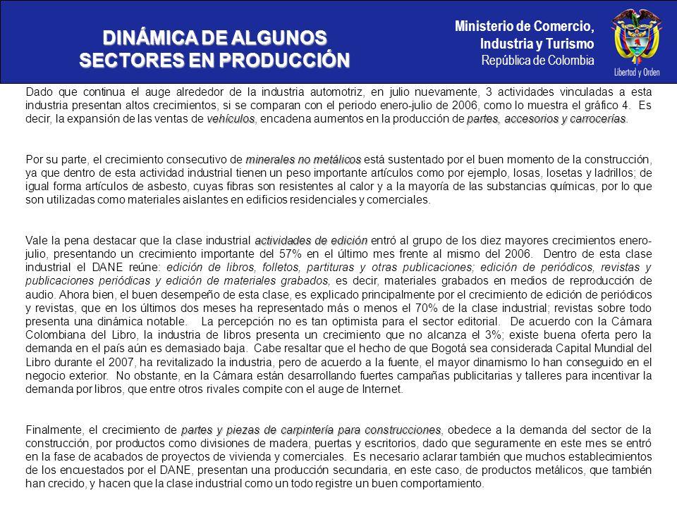 Ministerio de Comercio, Industria y Turismo República de Colombia DINÁMICA DE ALGUNOS SECTORES EN PRODUCCIÓN Gráfico 6.