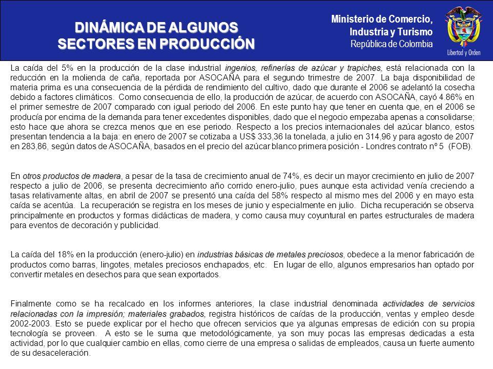 Ministerio de Comercio, Industria y Turismo República de Colombia DINÁMICA DE ALGUNOS SECTORES EN PRODUCCIÓN ingenios, refinerías de azúcar y trapiches, La caída del 5% en la producción de la clase industrial ingenios, refinerías de azúcar y trapiches, está relacionada con la reducción en la molienda de caña, reportada por ASOCAÑA para el segundo trimestre de 2007.