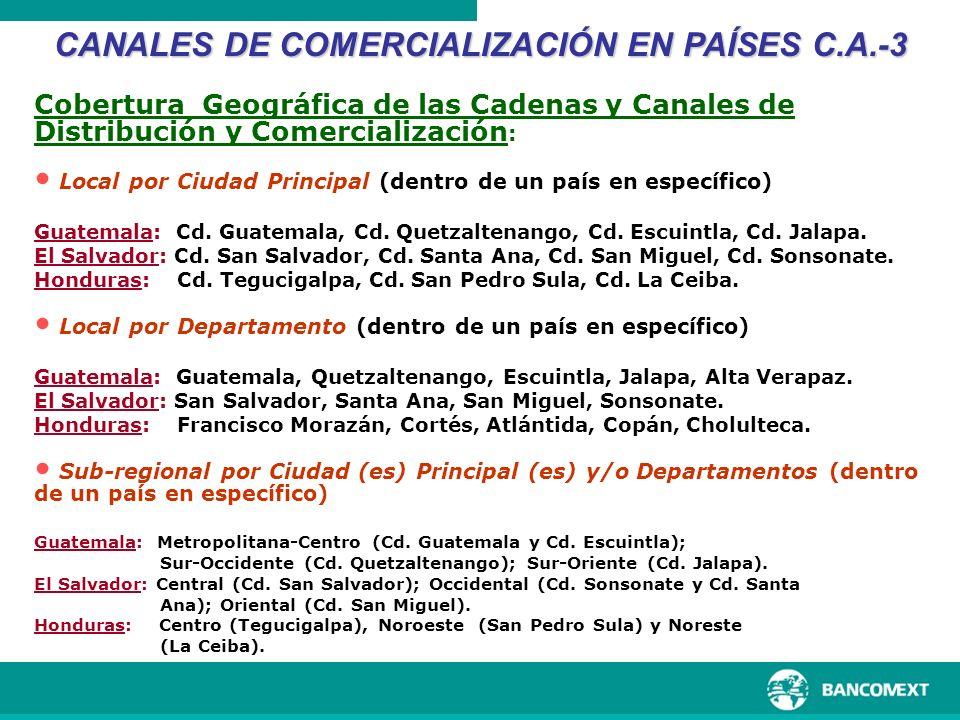 Cobertura Geográfica de las Cadenas y Canales de Distribución y Comercialización : Local por Ciudad Principal (dentro de un país en específico) Guatem