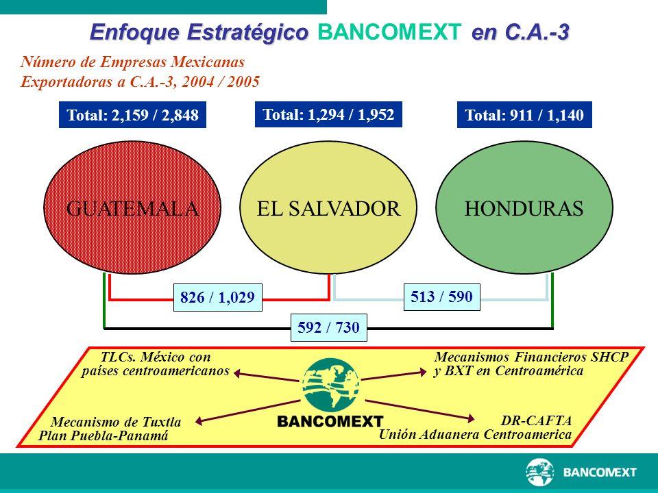 GUATEMALAEL SALVADOR Total: 2,159 / 2,848 Número de Empresas Mexicanas Exportadoras a C.A.-3, 2004 / 2005 HONDURAS Total: 1,294 / 1,952 Total: 911 / 1