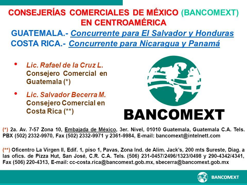 Lic. Rafael de la Cruz L. Consejero Comercial en Guatemala (*) Lic. Salvador Becerra M. Consejero Comercial en Costa Rica (**) CONSEJERÍAS COMERCIALES