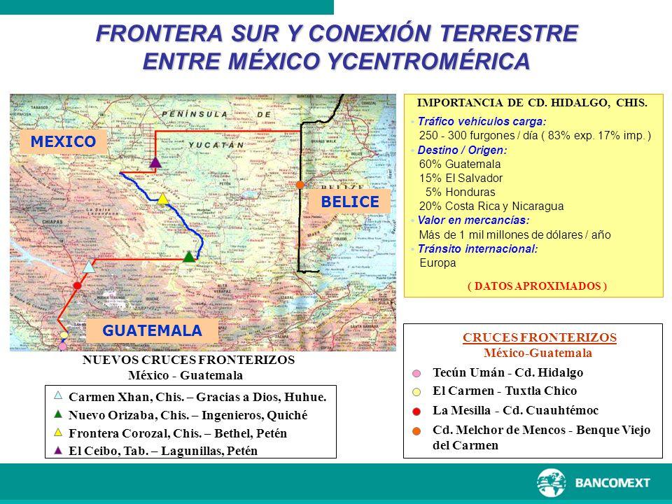 FRONTERA SUR Y CONEXIÓN TERRESTRE ENTRE MÉXICO YCENTROMÉRICA MEXICO GUATEMALA BELICE Tecún Umán - Cd. Hidalgo El Carmen - Tuxtla Chico La Mesilla - Cd
