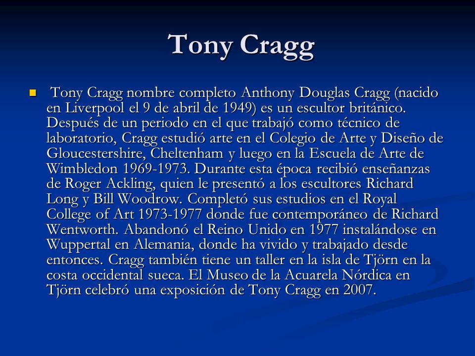 Tony Cragg Tony Cragg Tony Cragg nombre completo Anthony Douglas Cragg (nacido en Liverpool el 9 de abril de 1949) es un escultor británico.
