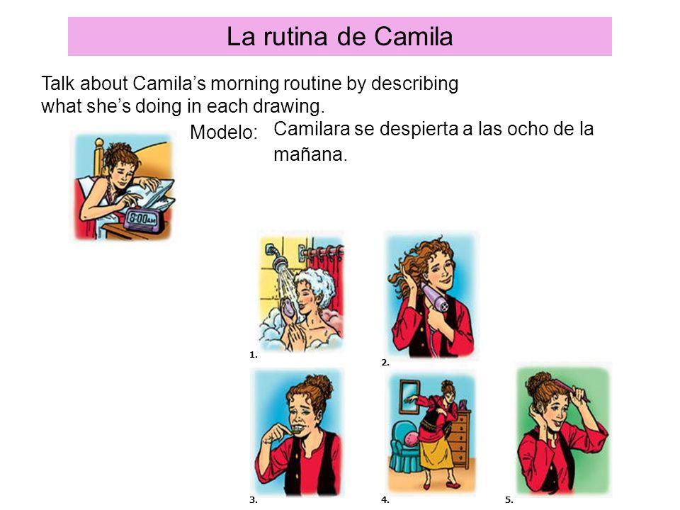 La rutina de Camila Talk about Camilas morning routine by describing what shes doing in each drawing. Modelo: Camilara se despierta a las ocho de la m