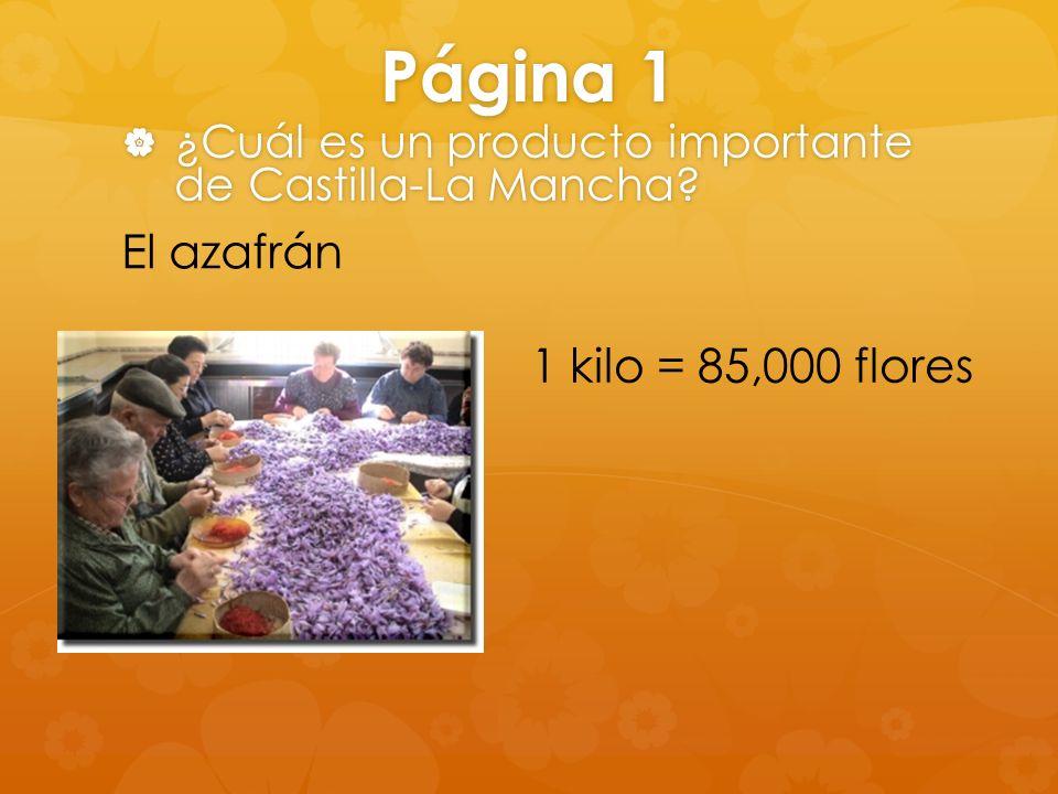 Página 1 ¿Cuál es un producto importante de Castilla-La Mancha? ¿Cuál es un producto importante de Castilla-La Mancha? El azafrán 1 kilo = 85,000 flor