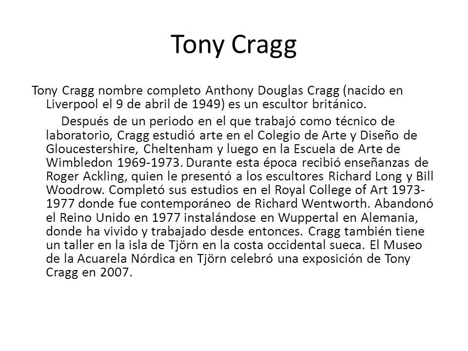 Tony Cragg Tony Cragg nombre completo Anthony Douglas Cragg (nacido en Liverpool el 9 de abril de 1949) es un escultor británico. Después de un period