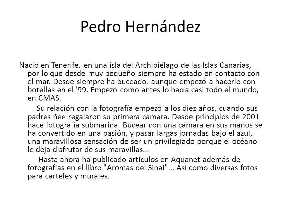 Pedro Hernández Nació en Tenerife, en una isla del Archipiélago de las Islas Canarias, por lo que desde muy pequeño siempre ha estado en contacto con