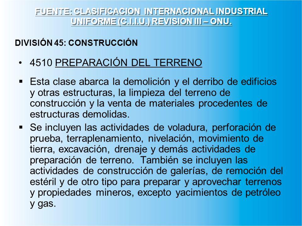 FUENTE: CLASIFICACION INTERNACIONAL INDUSTRIAL UNIFORME (C.I.I.U.) REVISION III – ONU. 4510 PREPARACIÓN DEL TERRENO Esta clase abarca la demolición y
