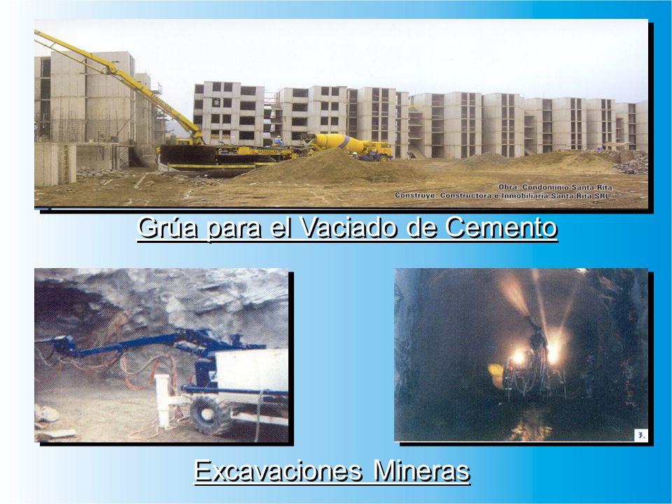 Grúa para el Vaciado de Cemento Excavaciones Mineras