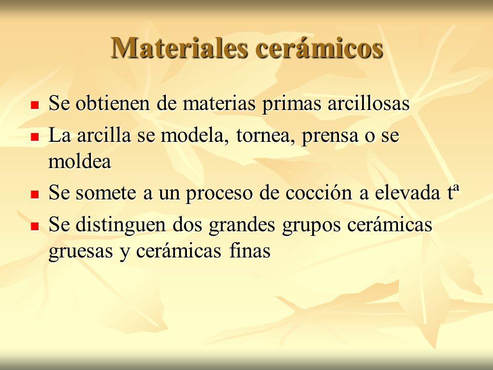 Materiales cerámicos Se obtienen de materias primas arcillosas Se obtienen de materias primas arcillosas La arcilla se modela, tornea, prensa o se mol