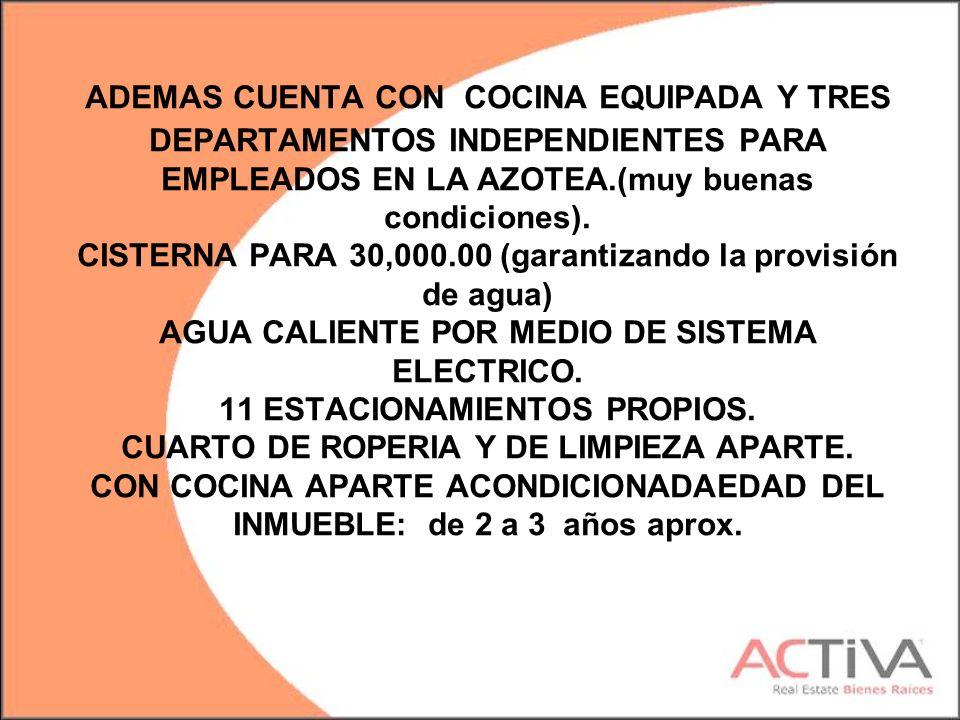 ADEMAS CUENTA CON COCINA EQUIPADA Y TRES DEPARTAMENTOS INDEPENDIENTES PARA EMPLEADOS EN LA AZOTEA.(muy buenas condiciones).