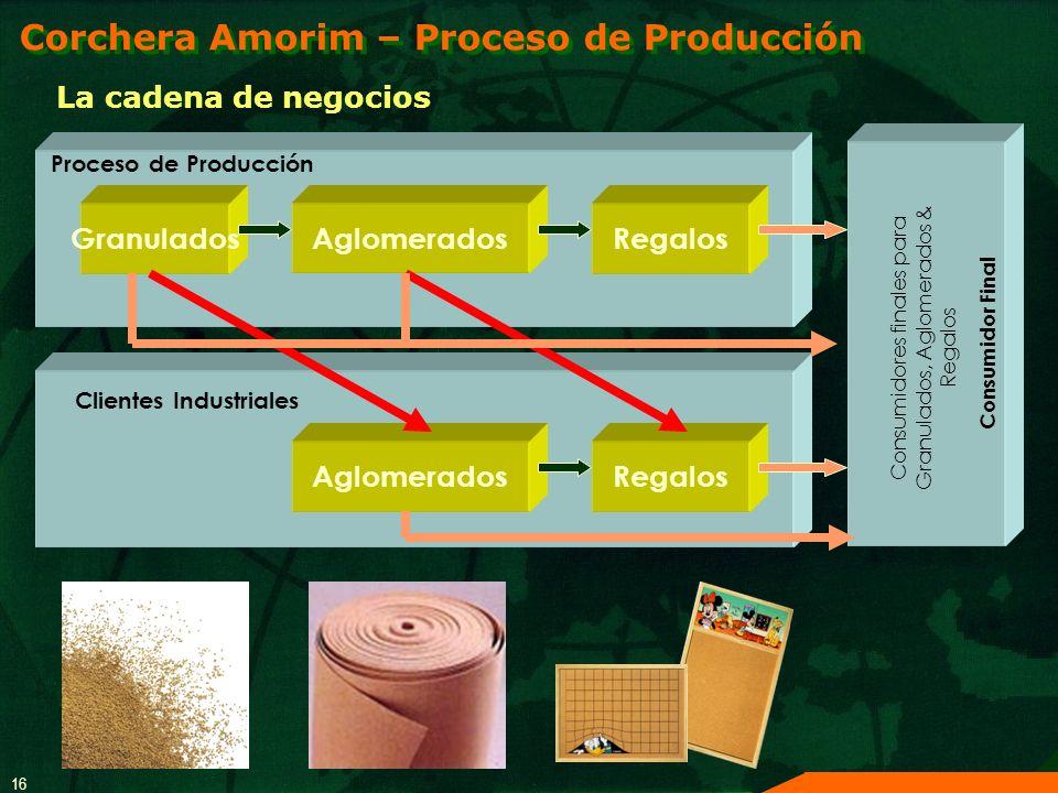 16 La cadena de negocios Proceso de Producción Granulados AglomeradosRegalos Aglomerados Clientes Industriales Regalos Consumidor Final Consumidores f