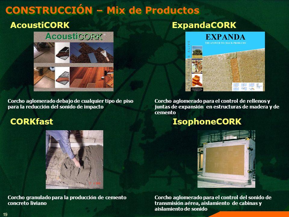 19 CONSTRUCCIÓN – Mix de Productos CORKfast Corcho granulado para la producción de cemento concreto liviano AcoustiCORK Corcho aglomerado debajo de cu