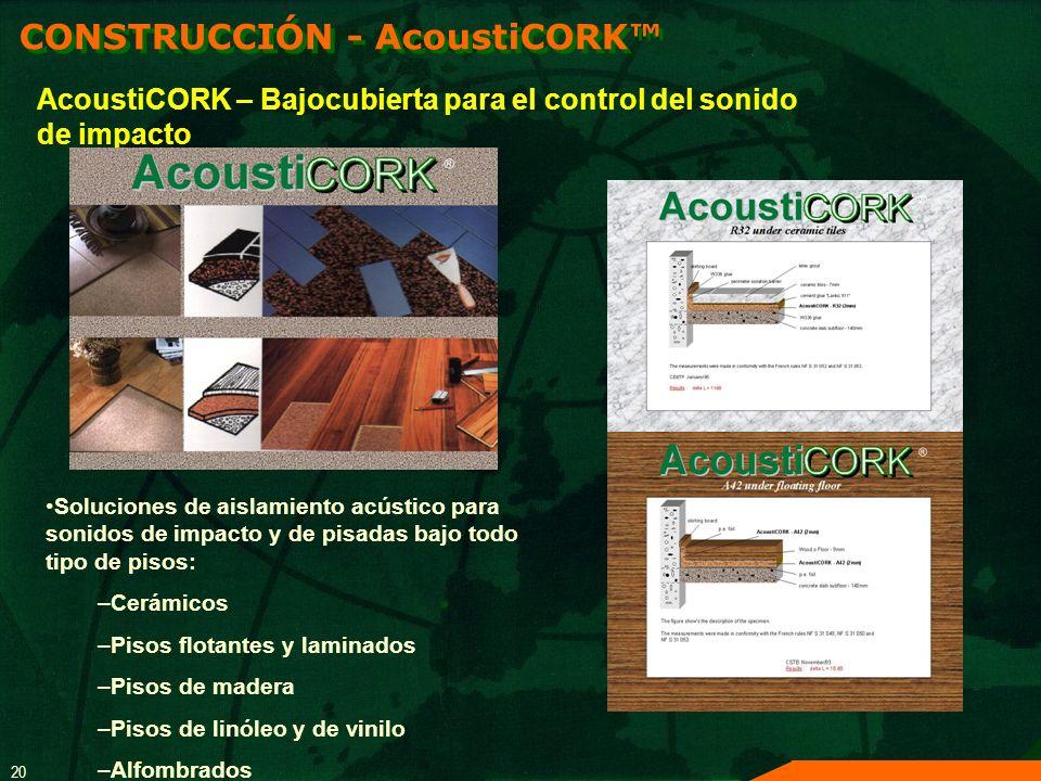 20 AcoustiCORK – Bajocubierta para el control del sonido de impacto Soluciones de aislamiento acústico para sonidos de impacto y de pisadas bajo todo