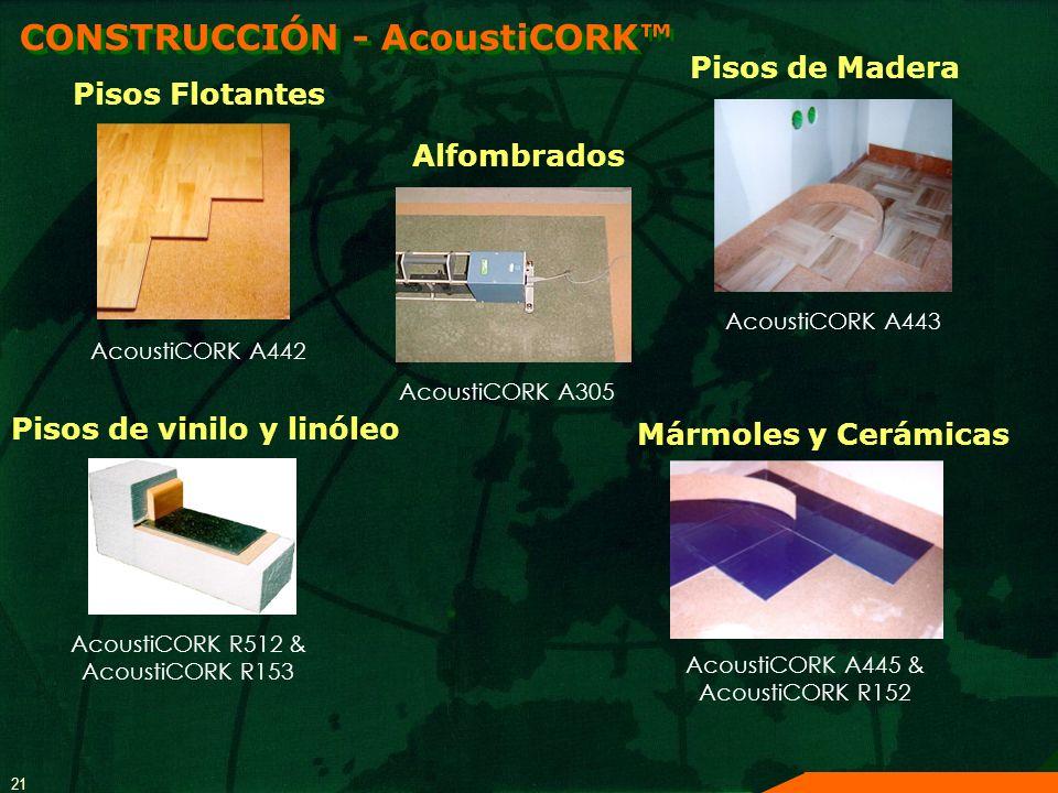 21 CONSTRUCCIÓN - AcoustiCORK Pisos Flotantes AcoustiCORK A442 Pisos de Madera AcoustiCORK A443 Pisos de vinilo y linóleo AcoustiCORK R512 & AcoustiCO