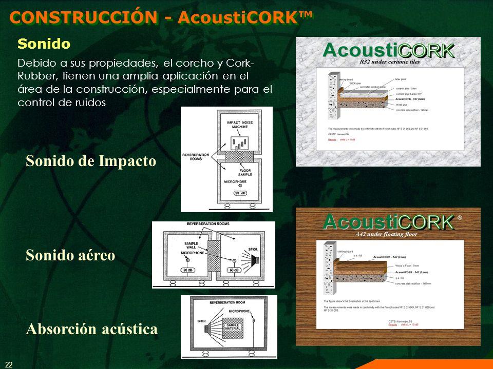 22 CONSTRUCCIÓN - AcoustiCORK Sonido Absorción acústica Sonido aéreo Sonido de Impacto Debido a sus propiedades, el corcho y Cork- Rubber, tienen una