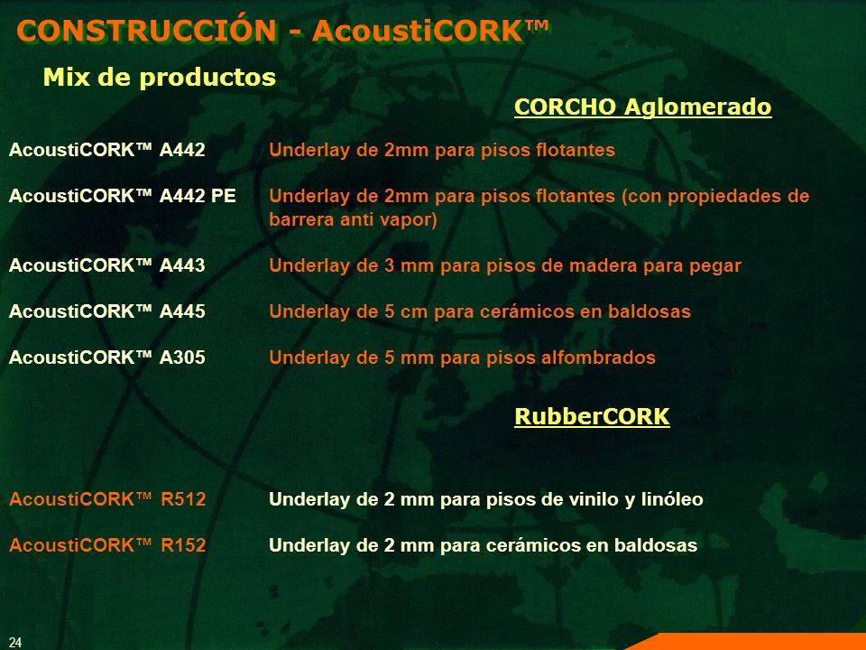 24 AcoustiCORK A442Underlay de 2mm para pisos flotantes AcoustiCORK A442 PEUnderlay de 2mm para pisos flotantes (con propiedades de barrera anti vapor