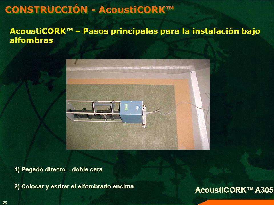 28 1) Pegado directo – doble cara 2) Colocar y estirar el alfombrado encima AcoustiCORK A305 AcoustiCORK – Pasos principales para la instalación bajo
