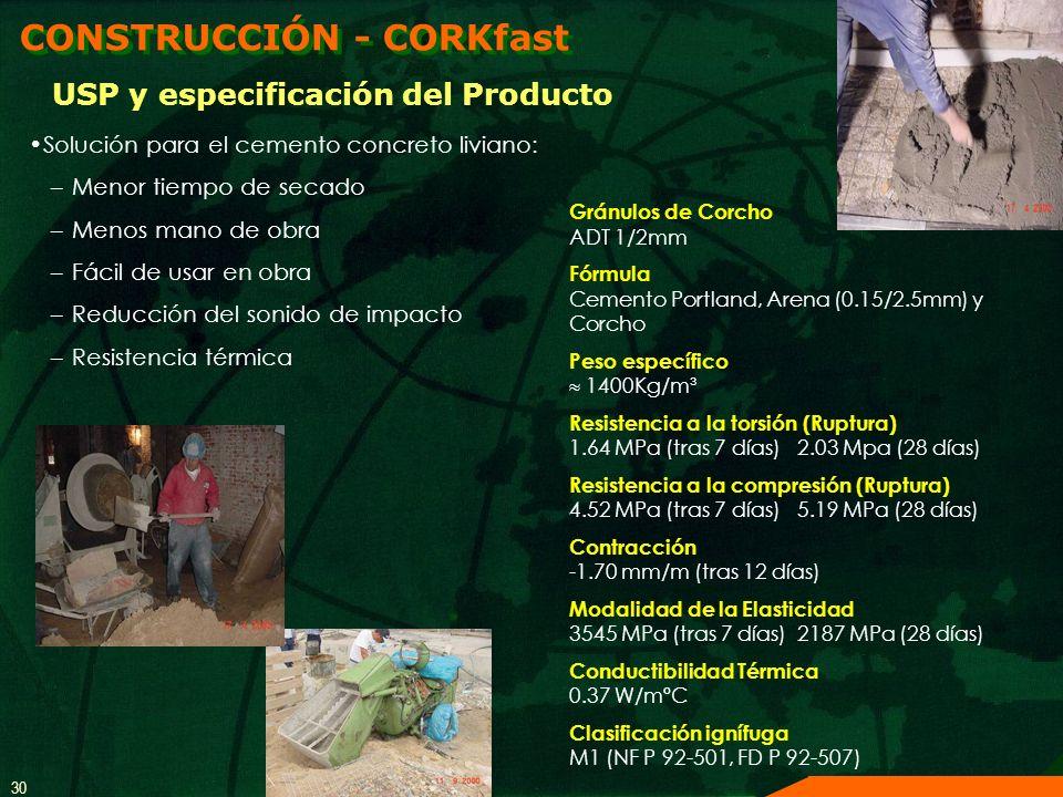30 Solución para el cemento concreto liviano: –Menor tiempo de secado –Menos mano de obra –Fácil de usar en obra –Reducción del sonido de impacto –Res