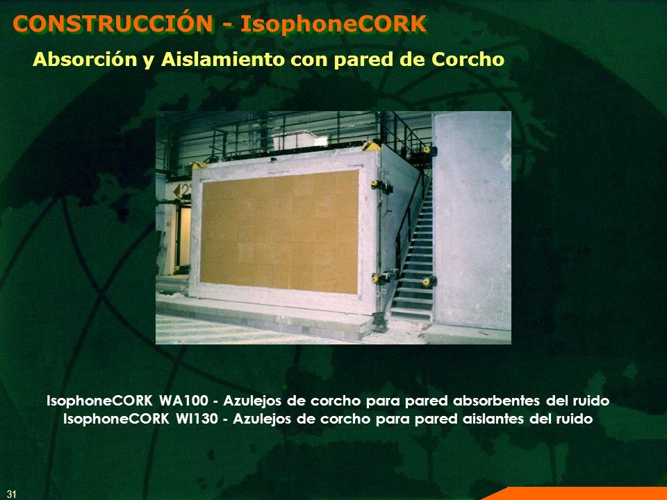 31 IsophoneCORK WA100 - Azulejos de corcho para pared absorbentes del ruido IsophoneCORK WI130 - Azulejos de corcho para pared aislantes del ruido CON