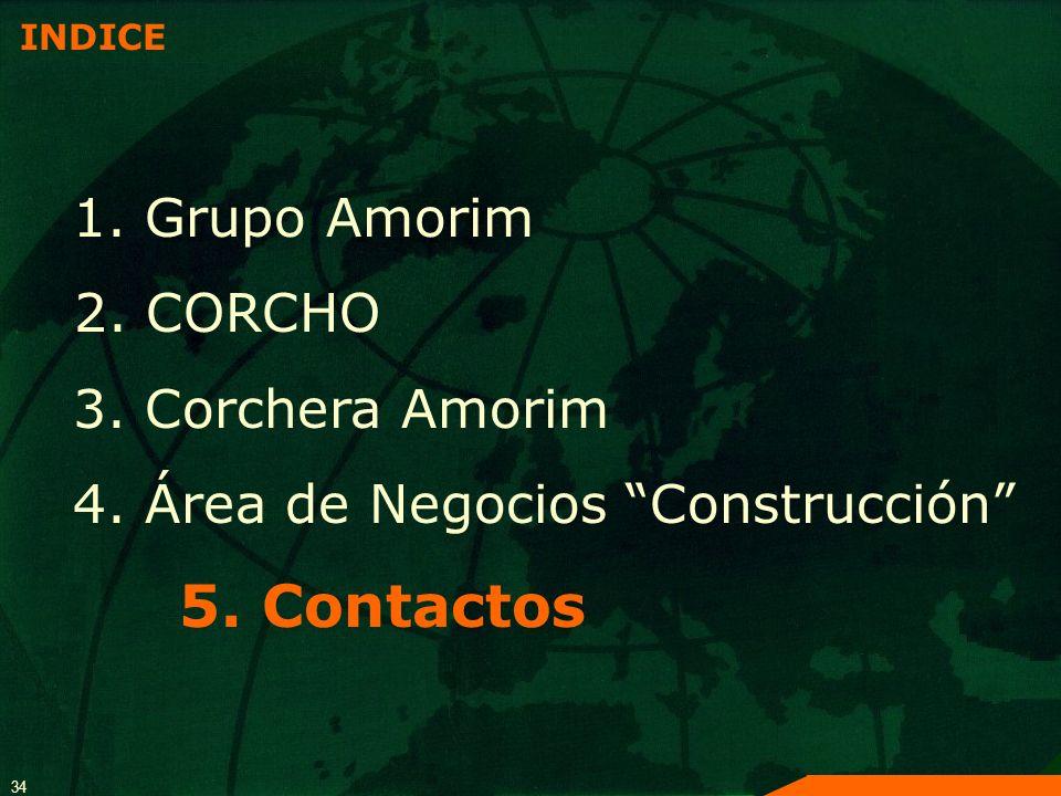 34 INDICE 1. Grupo Amorim 2. CORCHO 3. Corchera Amorim 4. Área de Negocios Construcción 5. Contactos