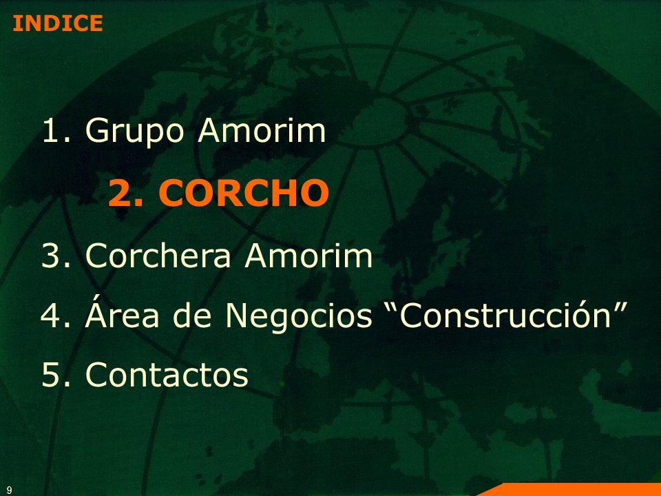 9 INDICE 1. Grupo Amorim 2. CORCHO 3. Corchera Amorim 4. Área de Negocios Construcción 5. Contactos