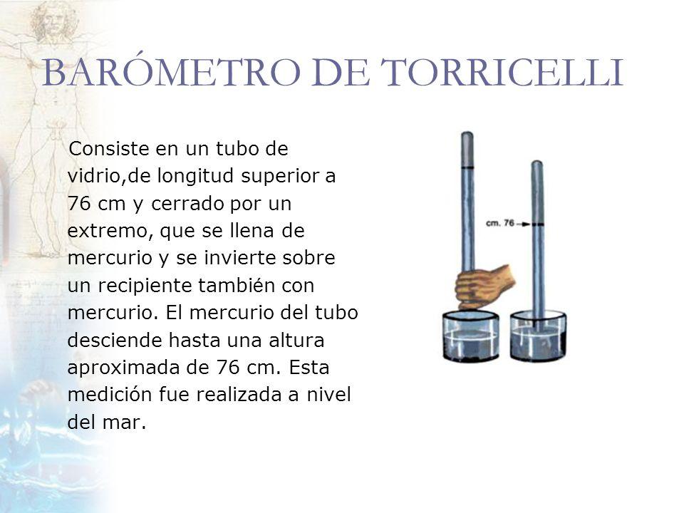 BARÓMETRO DE TORRICELLI Consiste en un tubo de vidrio,de longitud superior a 76 cm y cerrado por un extremo, que se llena de mercurio y se invierte so
