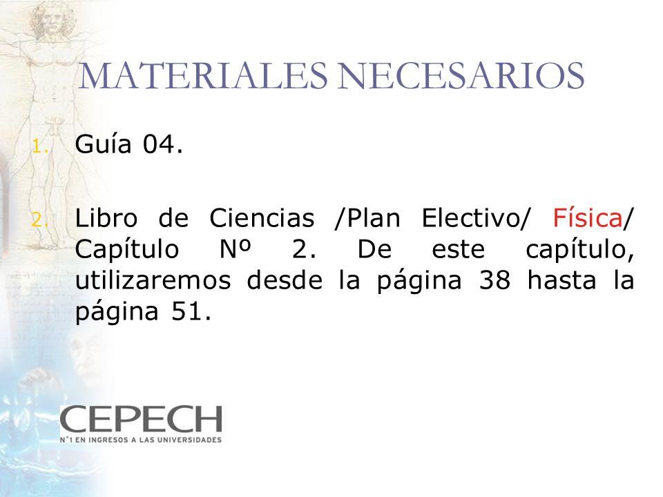 MATERIALES NECESARIOS 1. Guía 04. 2. Libro de Ciencias /Plan Electivo/ Física/ Capítulo Nº 2. De este capítulo, utilizaremos desde la página 38 hasta