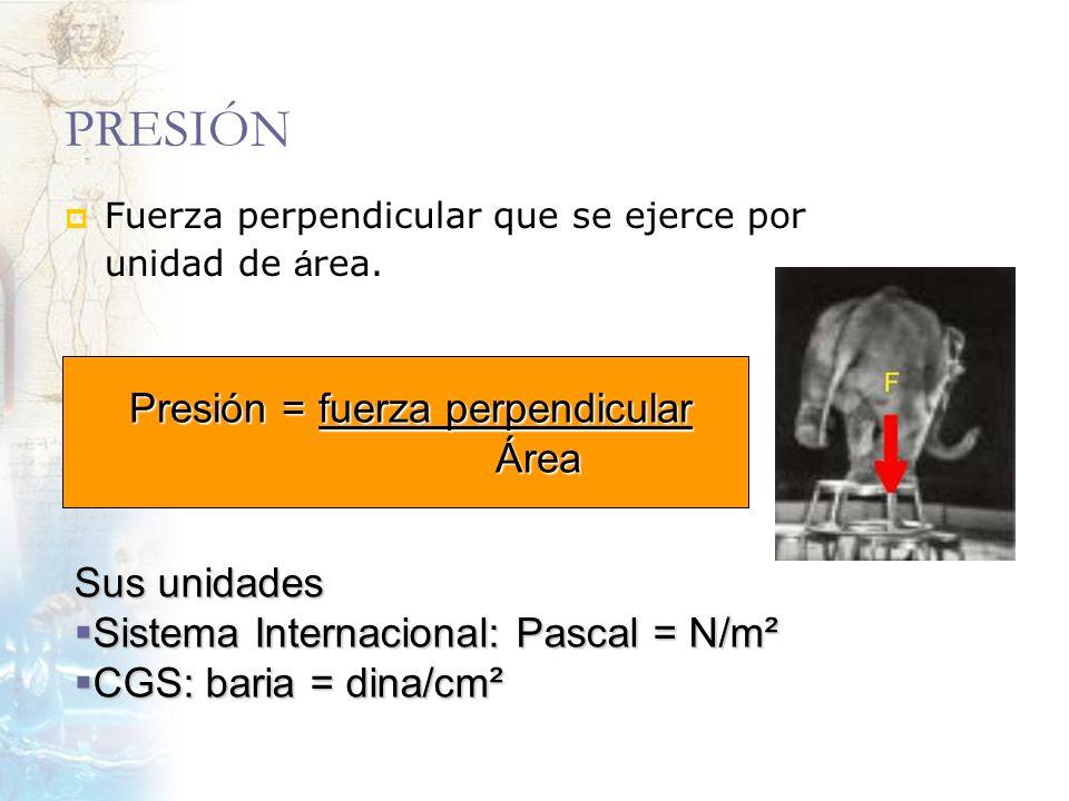 PRESIÓN Fuerza perpendicular que se ejerce por unidad de á rea. Presión = fuerza perpendicular Presión = fuerza perpendicular Área Área Sus unidades S