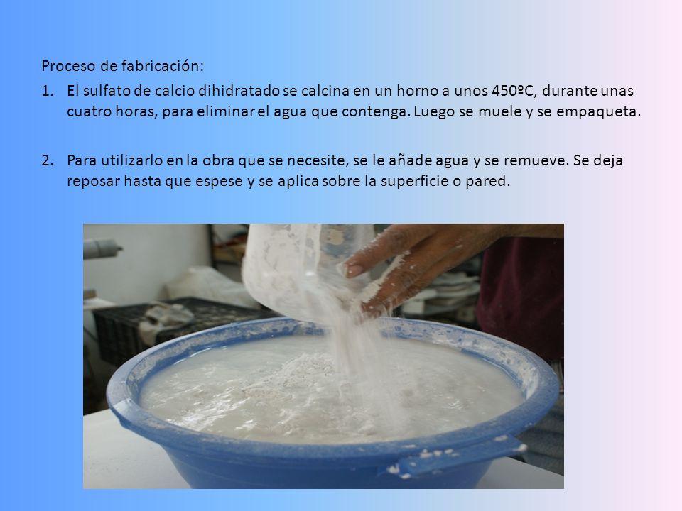 Proceso de fabricación: 1.El sulfato de calcio dihidratado se calcina en un horno a unos 450ºC, durante unas cuatro horas, para eliminar el agua que c