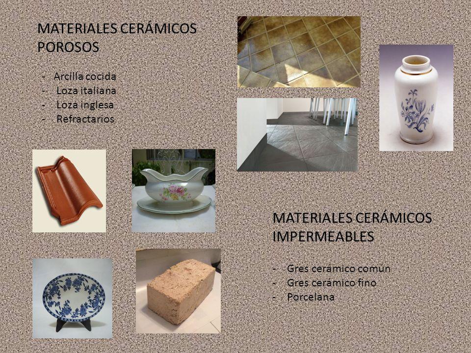MATERIALES CERÁMICOS POROSOS - Arcilla cocida -Loza italiana -Loza inglesa -Refractarios MATERIALES CERÁMICOS IMPERMEABLES -Gres cerámico común -Gres cerámico fino -Porcelana