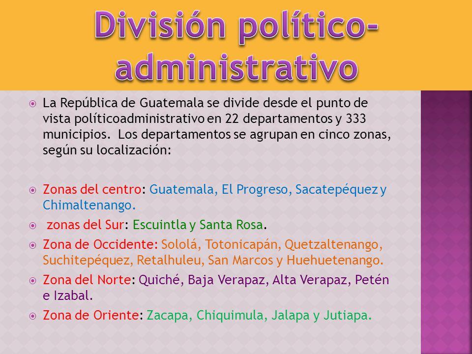 La República de Guatemala se divide desde el punto de vista políticoadministrativo en 22 departamentos y 333 municipios. Los departamentos se agrupan