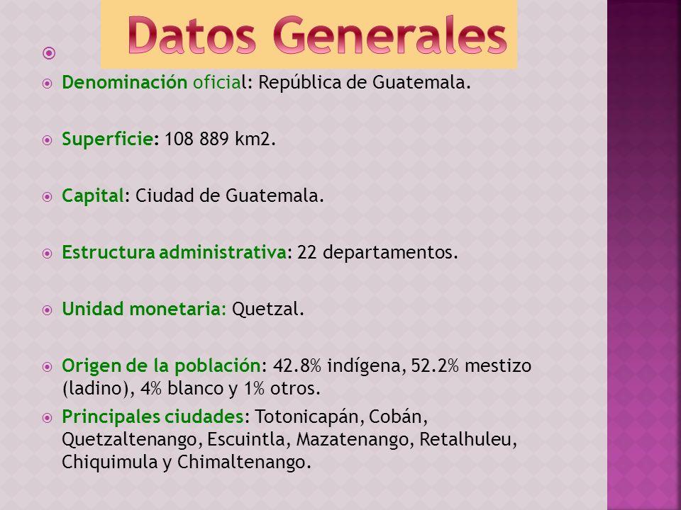 Denominación oficial: República de Guatemala. Superficie: 108 889 km2. Capital: Ciudad de Guatemala. Estructura administrativa: 22 departamentos. Unid