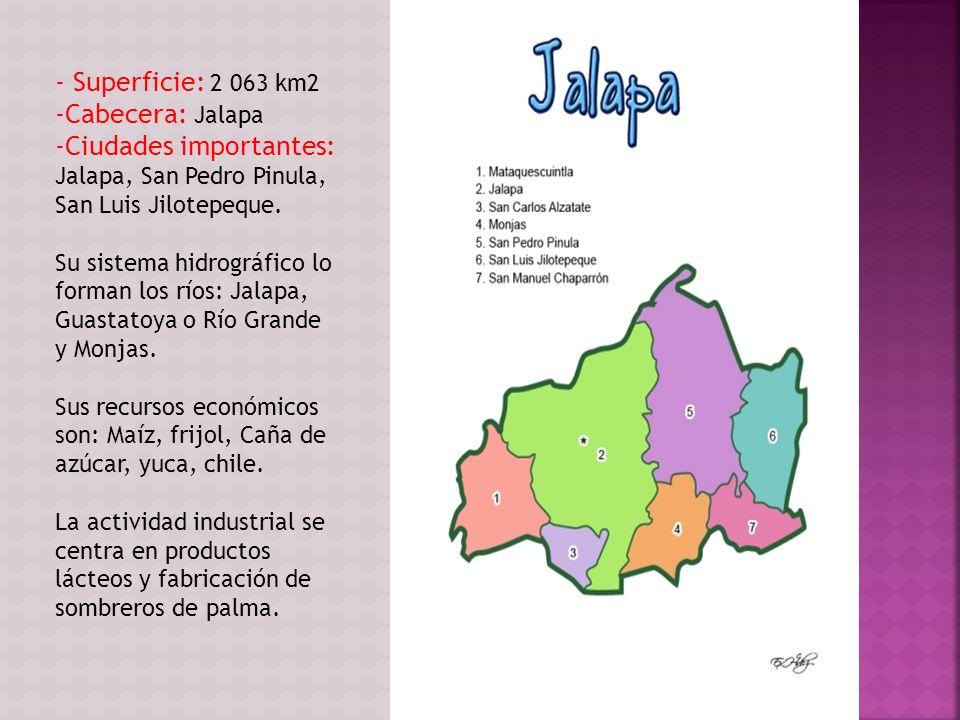 - Superficie: 2 063 km2 -Cabecera: Jalapa -Ciudades importantes: Jalapa, San Pedro Pinula, San Luis Jilotepeque. Su sistema hidrográfico lo forman los