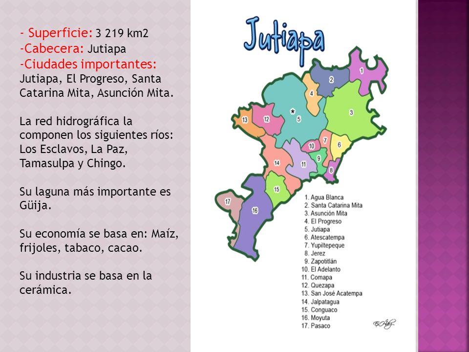 - Superficie: 3 219 km2 -Cabecera: Jutiapa -Ciudades importantes: Jutiapa, El Progreso, Santa Catarina Mita, Asunción Mita. La red hidrográfica la com