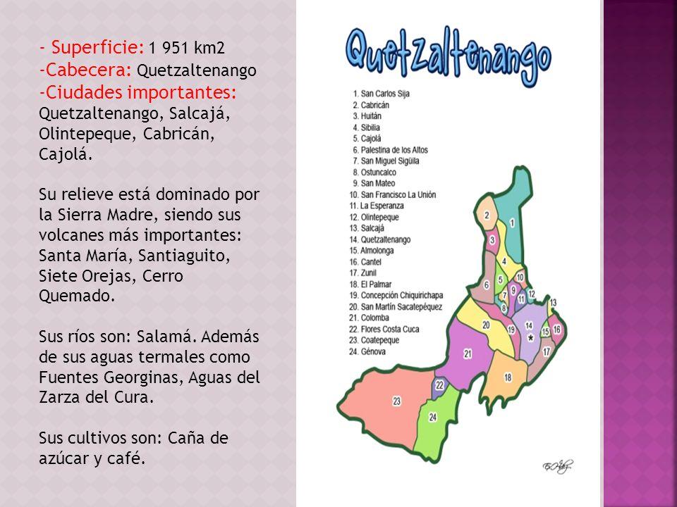- Superficie: 1 951 km2 -Cabecera: Quetzaltenango -Ciudades importantes: Quetzaltenango, Salcajá, Olintepeque, Cabricán, Cajolá. Su relieve está domin