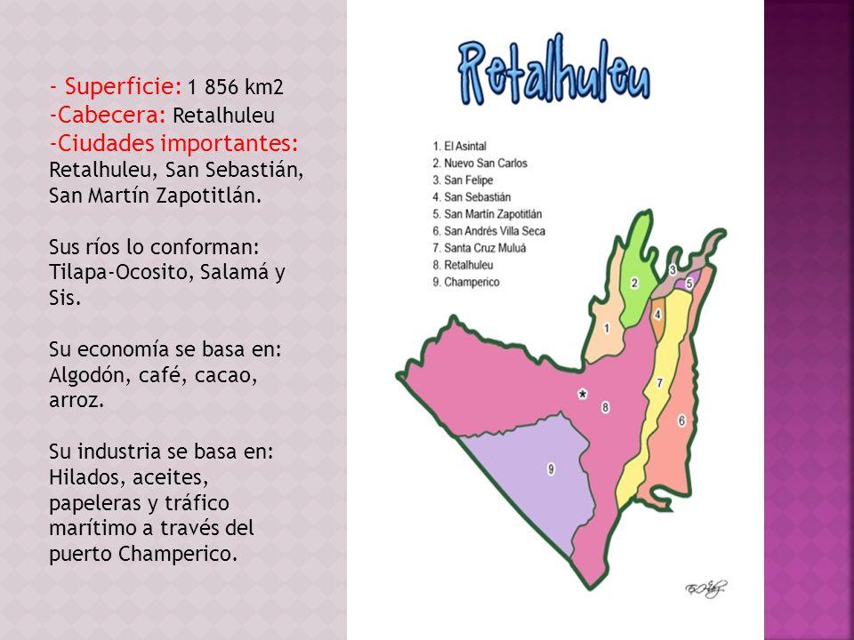 - Superficie: 1 856 km2 -Cabecera: Retalhuleu -Ciudades importantes: Retalhuleu, San Sebastián, San Martín Zapotitlán. Sus ríos lo conforman: Tilapa-O