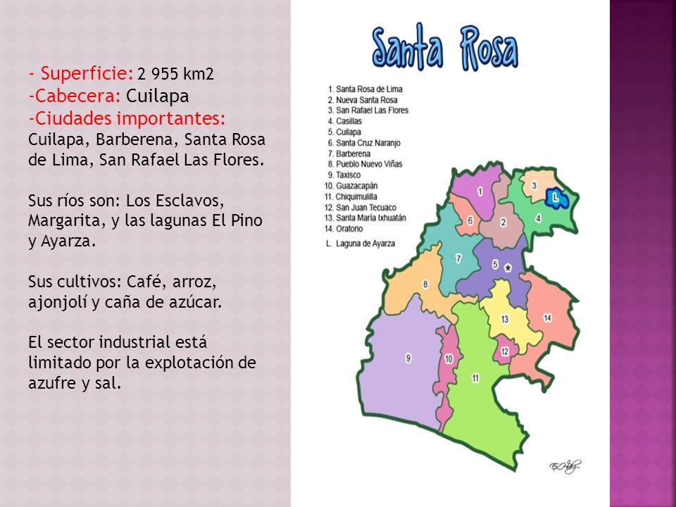 - Superficie: 2 955 km2 -Cabecera: Cuilapa -Ciudades importantes: Cuilapa, Barberena, Santa Rosa de Lima, San Rafael Las Flores. Sus ríos son: Los Esc