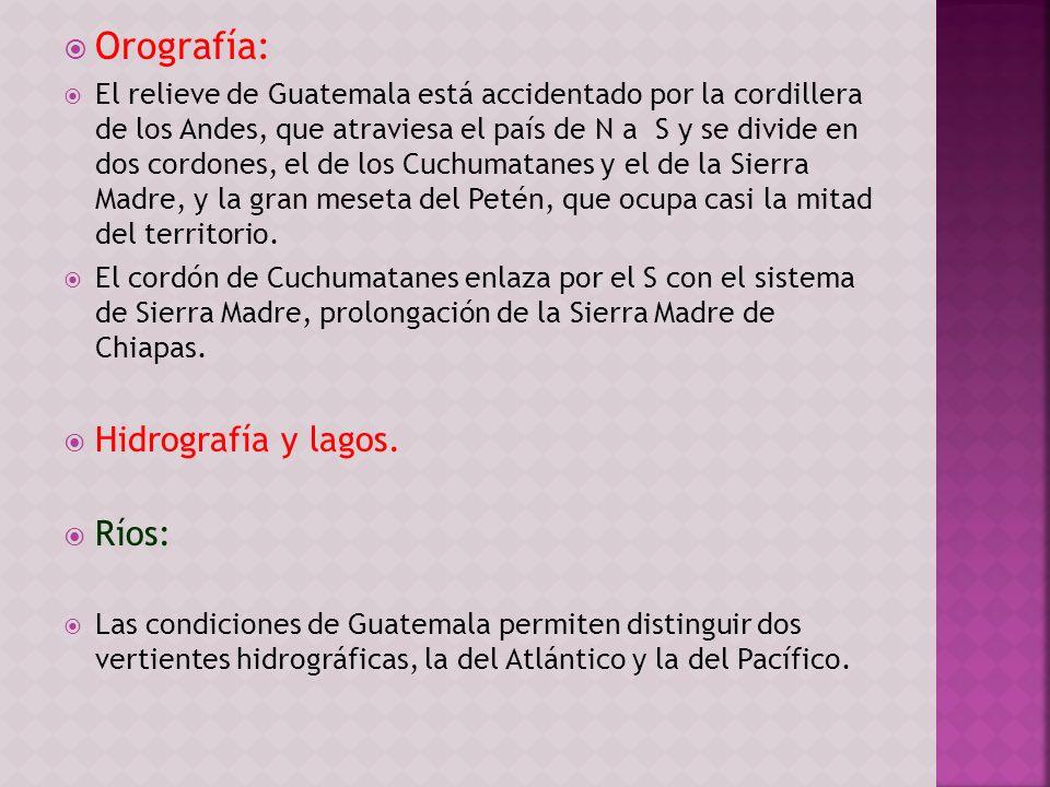 Orografía: El relieve de Guatemala está accidentado por la cordillera de los Andes, que atraviesa el país de N a S y se divide en dos cordones, el de