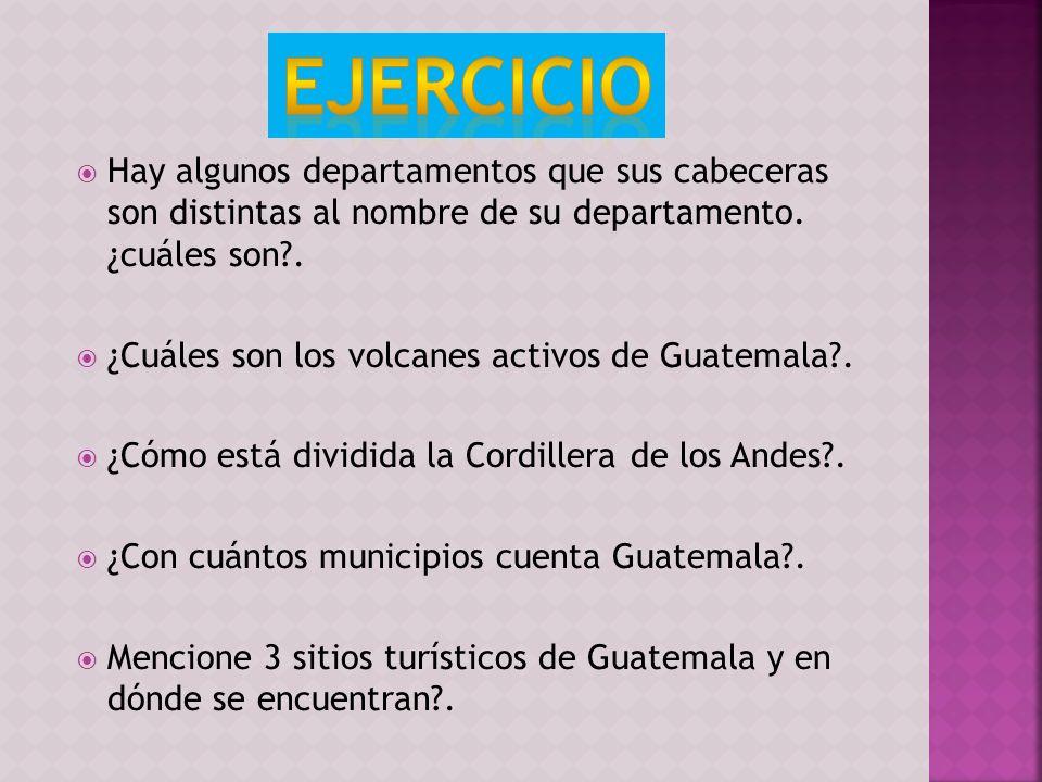 Hay algunos departamentos que sus cabeceras son distintas al nombre de su departamento. ¿cuáles son?. ¿Cuáles son los volcanes activos de Guatemala?.
