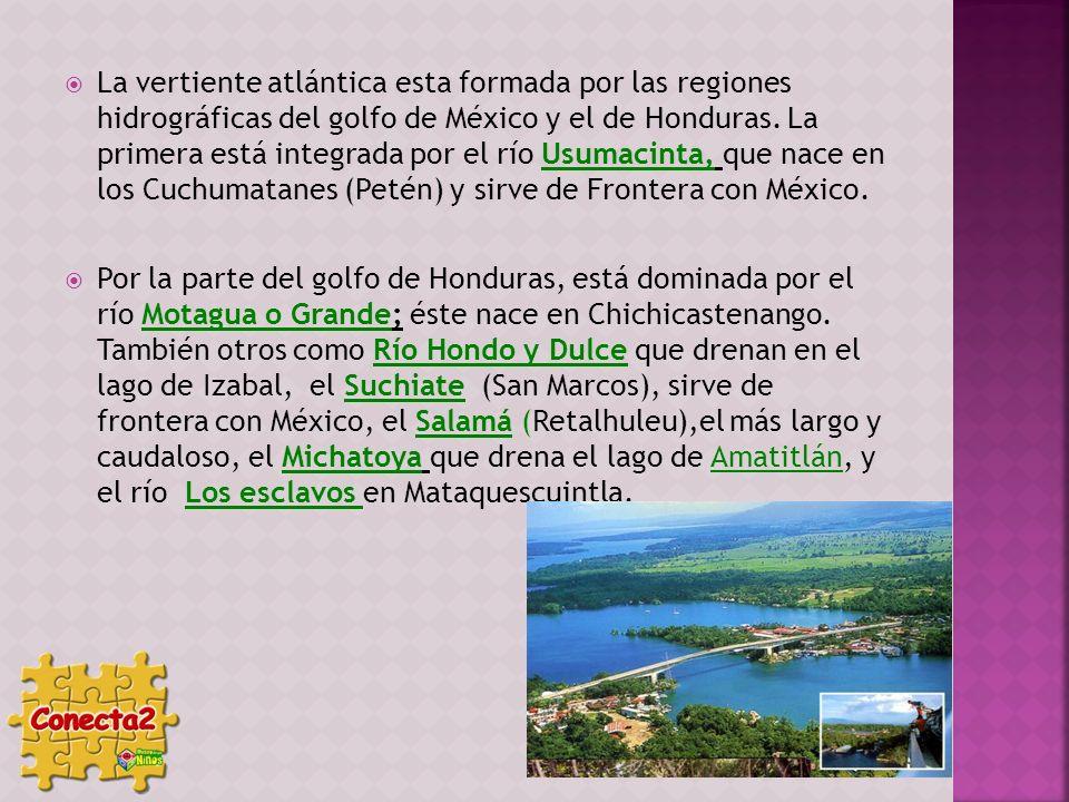 La vertiente atlántica esta formada por las regiones hidrográficas del golfo de México y el de Honduras. La primera está integrada por el río Usumacin