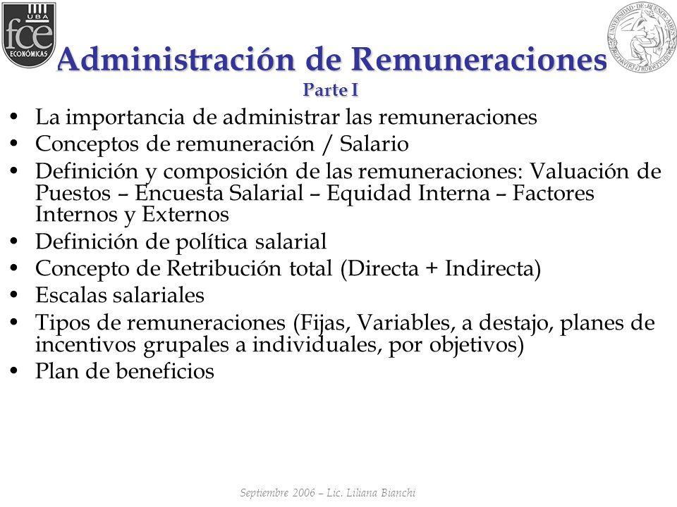 Administración de Remuneraciones Parte I La importancia de administrar las remuneraciones Conceptos de remuneración / Salario Definición y composición