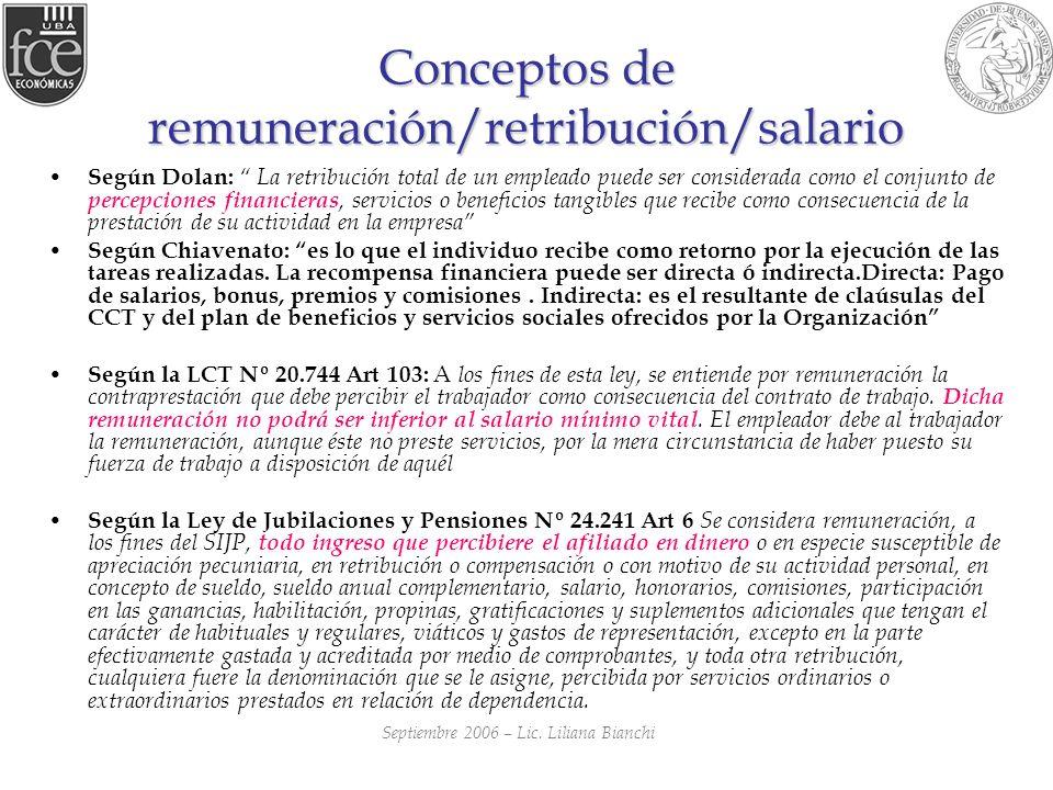 Conceptos de remuneración/retribución/salario Según Dolan: La retribución total de un empleado puede ser considerada como el conjunto de percepciones